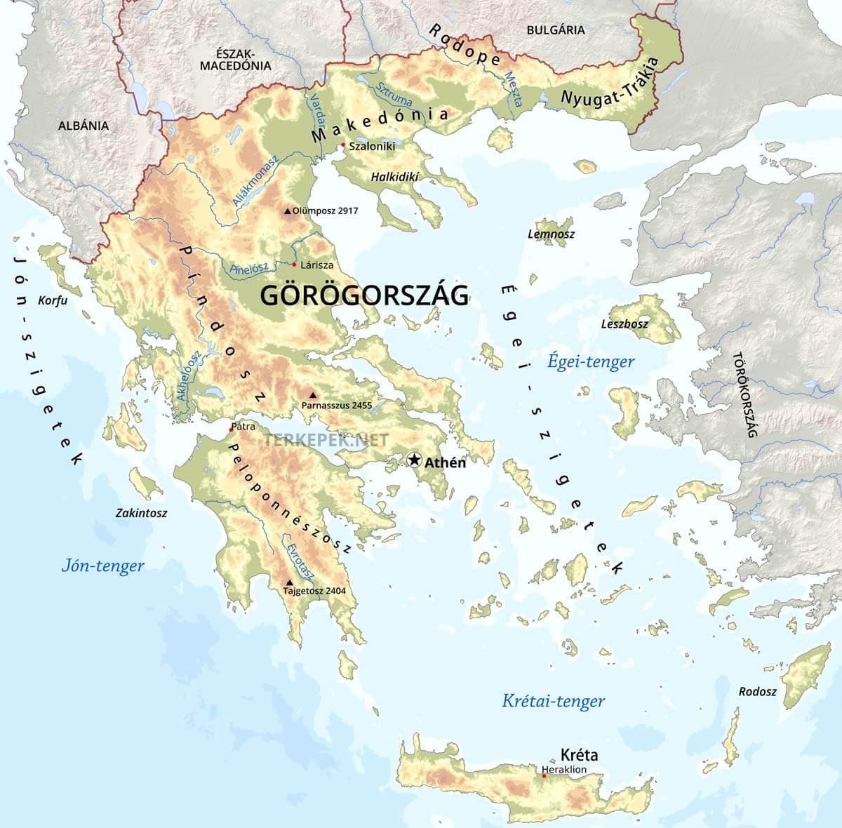 görögország domborzati térkép Görögország térképek görögország domborzati térkép